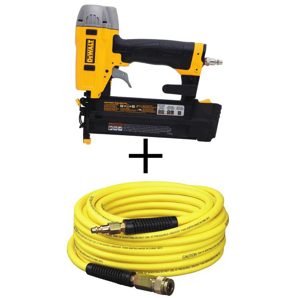 DEWALT 18-Gauge Pneumatic 2 in. Brad Nailer Kit with Bonus 50 ft. x 1/4 in. Air Hose