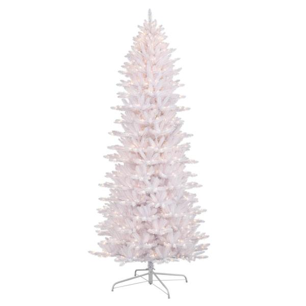 9 ft. Pre-Lit White Slim Fraser Fir Artificial Christmas Tree with 800 UL-Listed Lights