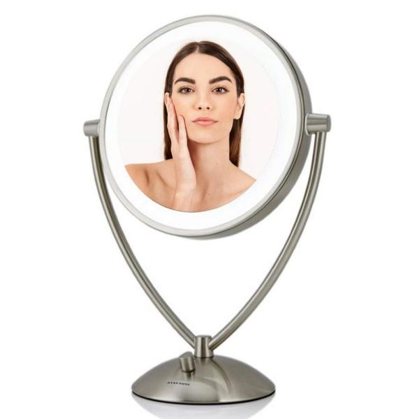 Small Nickel Brushed Metal Lighted Tilting Modern Mirror (16 in. H X 6 in. W)