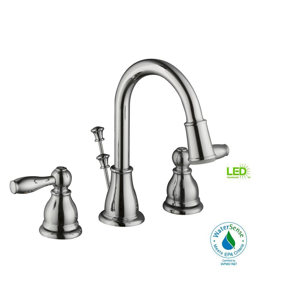 Widespread 2 Handle LED High Arc Bathroom Faucet In Chrome