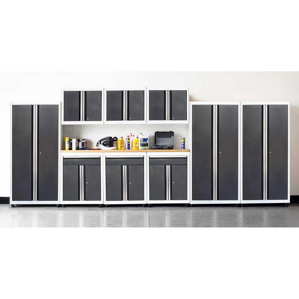 American Heritage 75 In H X 198 In W X 18 In D Welded Steel Garage Cabinet Set In White Charcoal 10 Piece