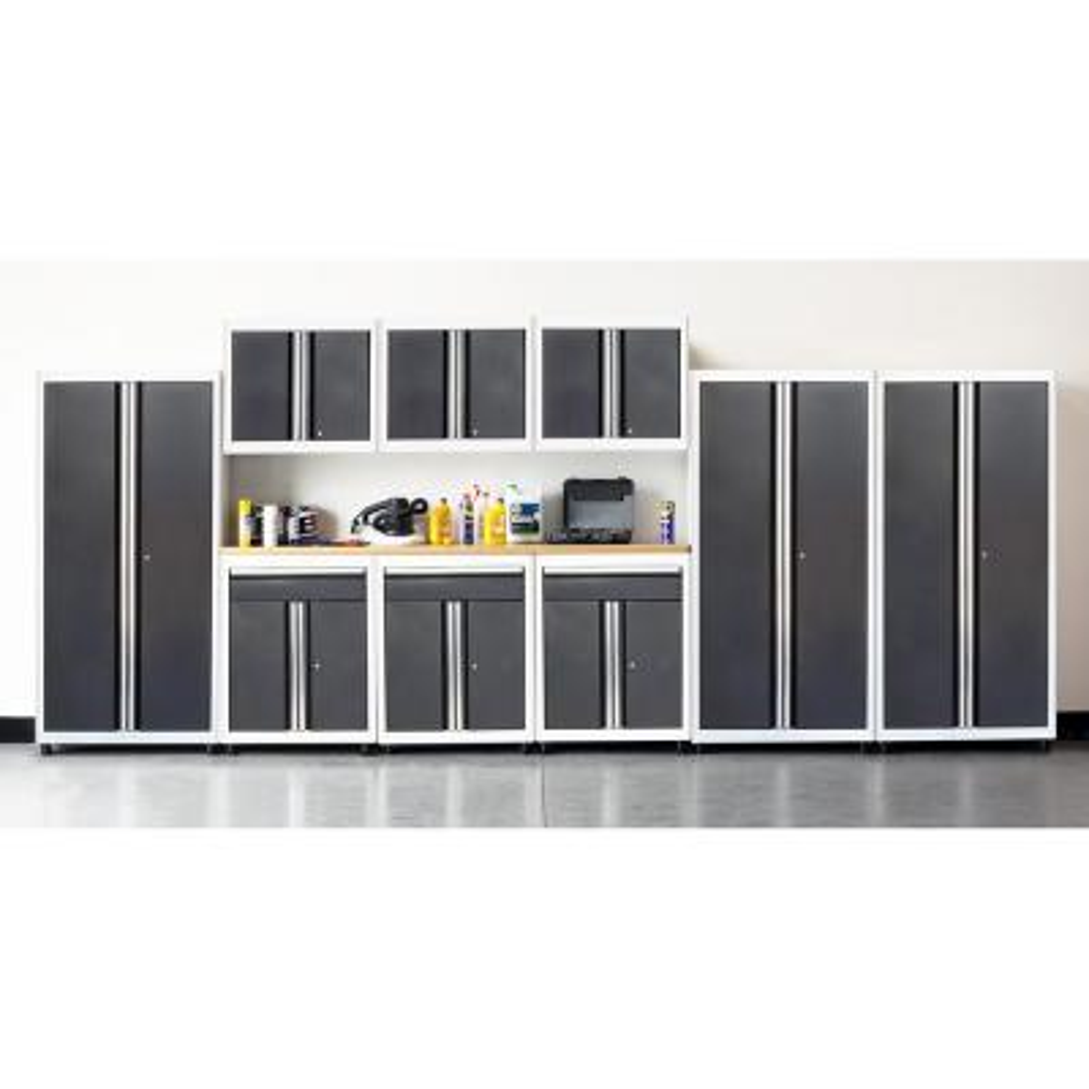 75 in. H x 198 in. W x 18 in. D Welded Steel Garage Cabinet Set in White/Charcoal (10-Piece)