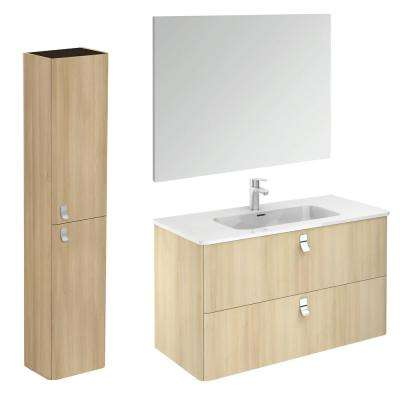 39 in. W x 20 in. D x 23 in. H Complete Bathroom Vanity Unit in Nordic Oak with Mirror and Column