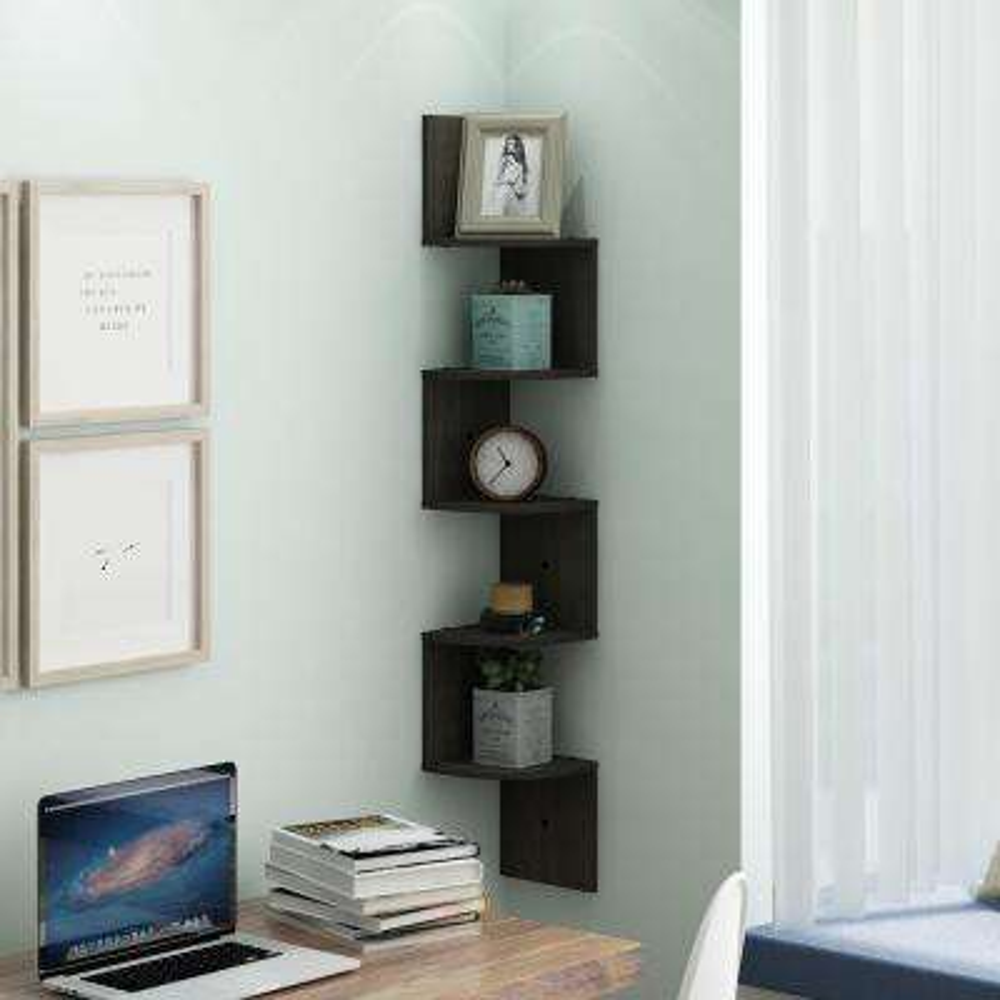 48.8 in. Espresso Wood 5-shelf Corner Bookcase with Storage