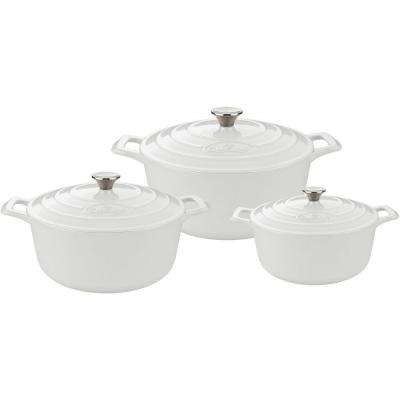 PRO Cast Iron Round Casserole Set with Enamel Finish in White (6-Piece)