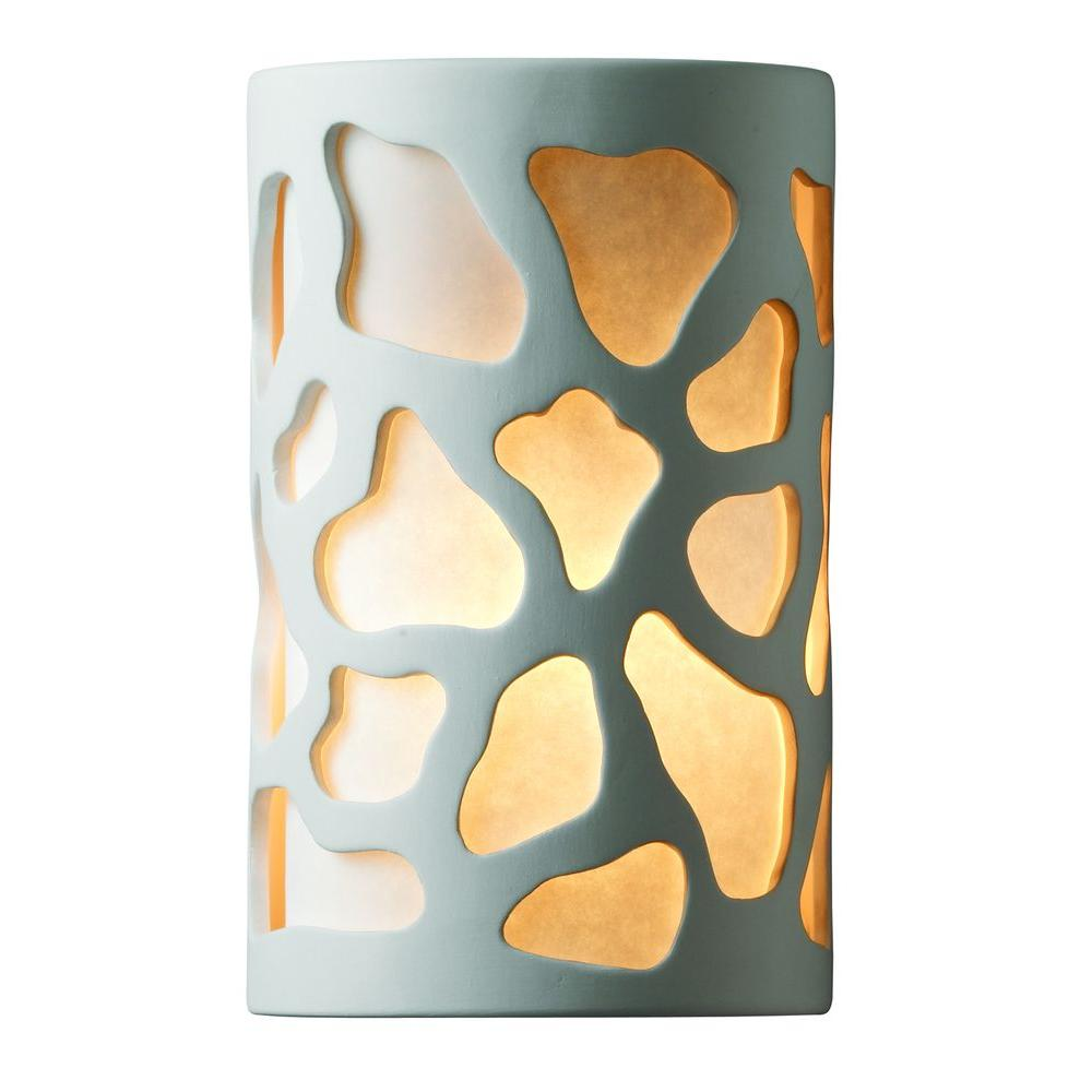 Leonidas 1-Light Paintable Ceramic Bisque Small Cobblestones Open Top and Bottom