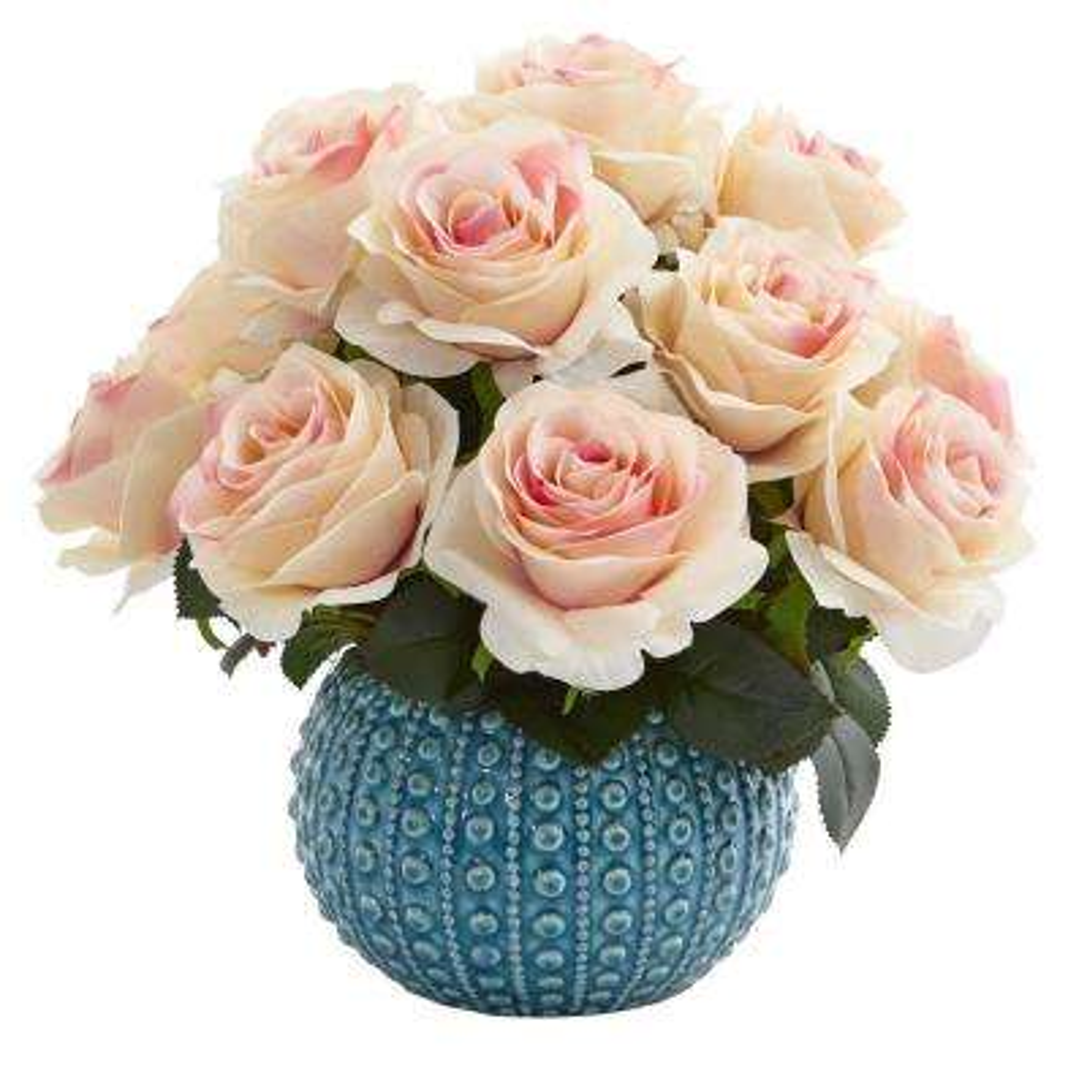 11.5 in. High Light Pink Roses Artificial Arrangement in Blue Ceramic Vase