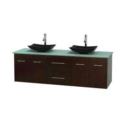 Centra 72 in. Double Vanity in Espresso with Glass Vanity Top in Green and Black Granite Sinks