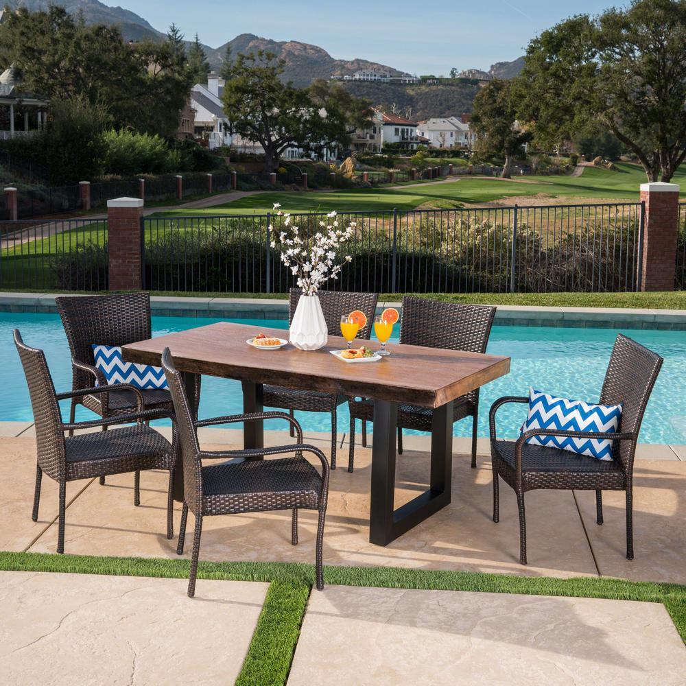 Feinberg 30.25 in. Multi-Brown 7-Piece Metal Rectangular Outdoor Dining Set