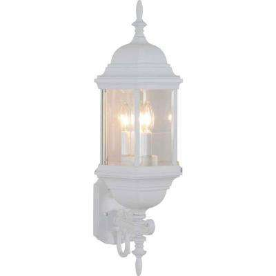 3-Light White Outdoor Wall Sconce