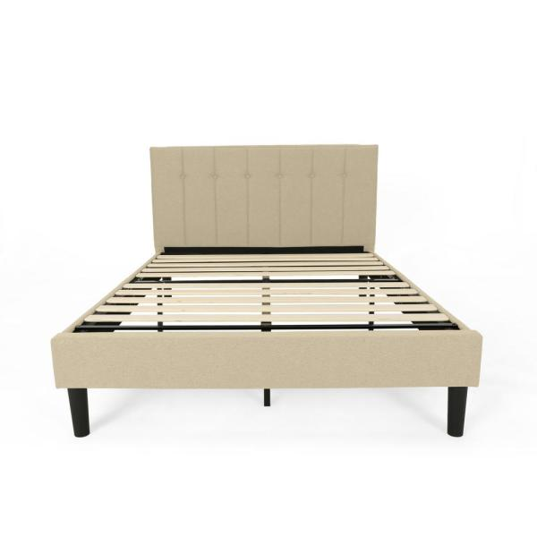 Noble House Heinze Contemporary Modern Queen-Size Beige Fully Upholstered