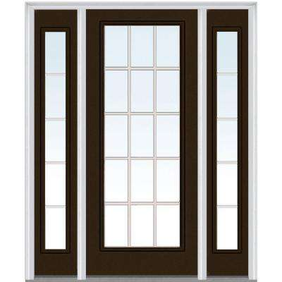 64 in. x 80 in. Internal Grilles Left-Hand Full Lite Clear Painted Fiberglass Smooth Prehung Front Door with Sidelites
