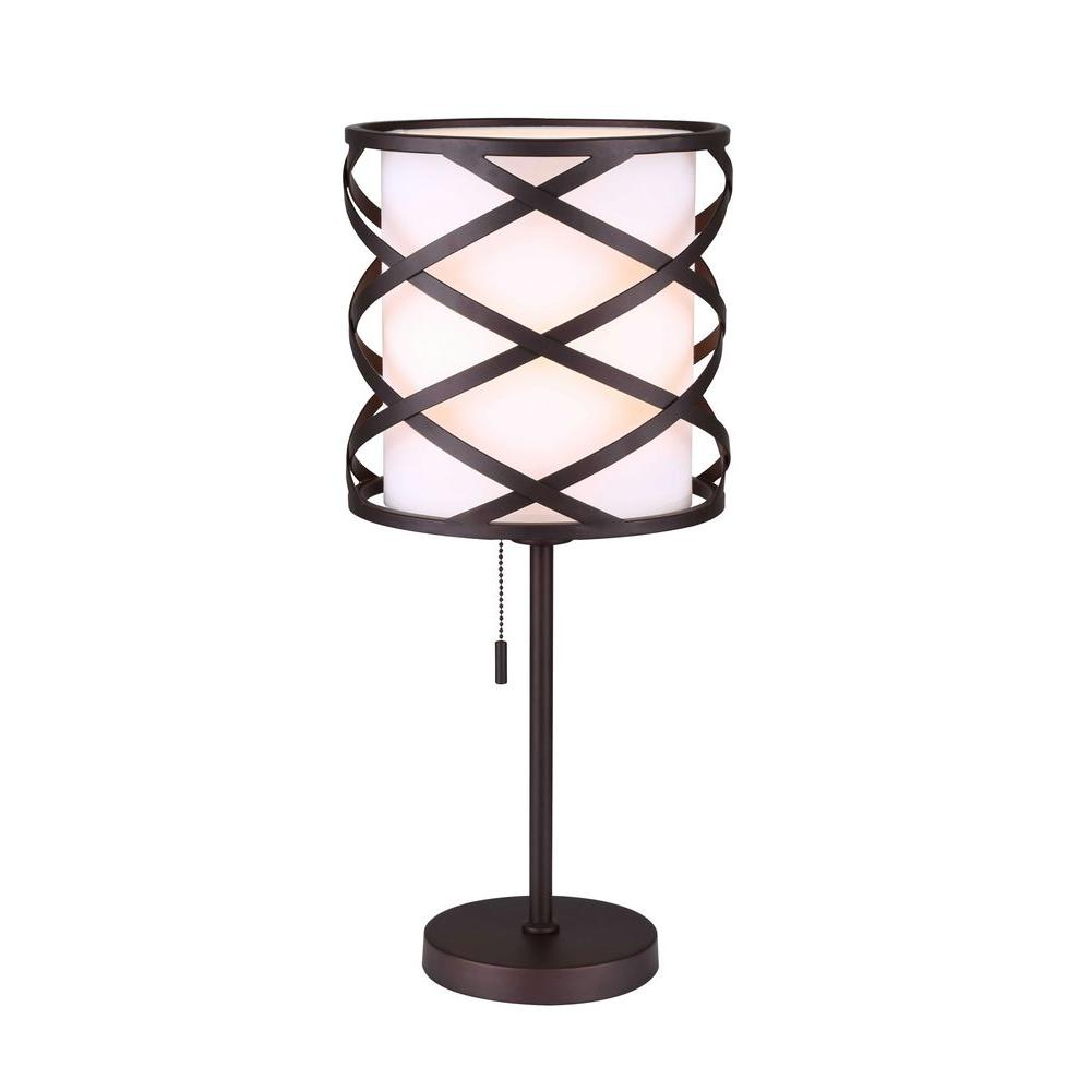 CANARM Carlina 21.75 in. Oil-Rubbed Bronze Table Lamp with White Fabric Shade