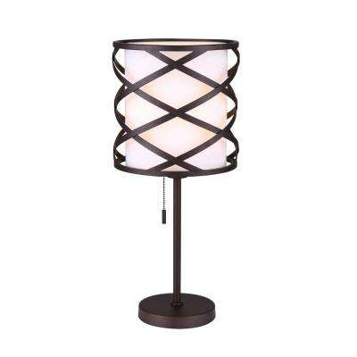 Carlina 21.75 in. Oil-Rubbed Bronze Table Lamp with White Fabric Shade
