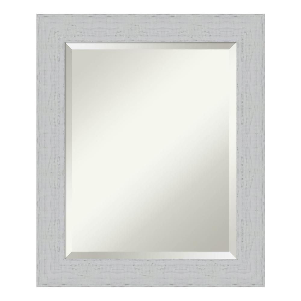 Medium Rectangle Distressed White Beveled Glass Modern Mirror (24.25 in. H x 20.25 in. W)