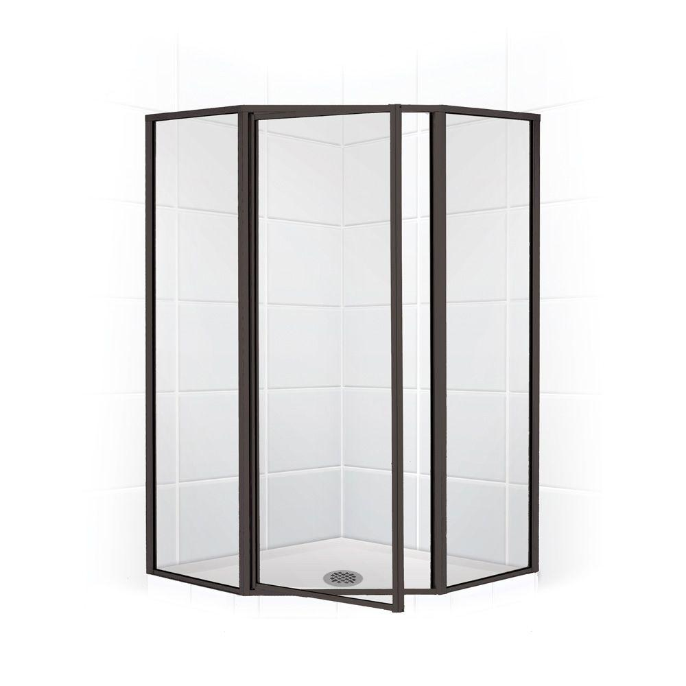 Coastal Shower Doors Legend Series 59 in. x 66 in. Framed Neo-Angle Swing Shower Door in Oil Rubbed Bronze and Clear Glass