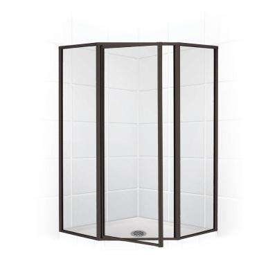 Legend Series 62 in. x 70 in. Framed Neo-Angle Swing Shower Door in Black Bronze and Clear Glass