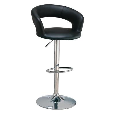 29 in. Black and Chrome Upholstered Bar Stool with Adjustable Height