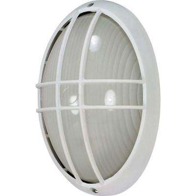 1-Light Outdoor Semi Gloss White Large Oval Cage Bulk Head with Die Cast