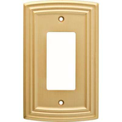 Emery Decorative Single Rocker Switch Cover, Brushed Brass