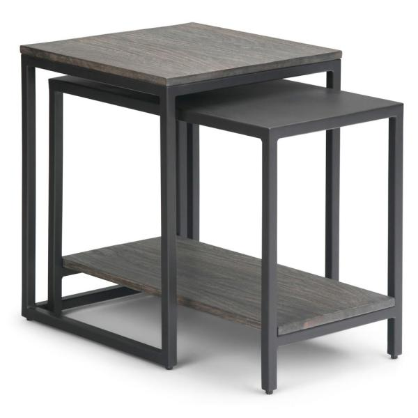 Bellgrove 16 in. Wide Square Modern Industrial 2-Piece Nesting Table in Light Charcoal