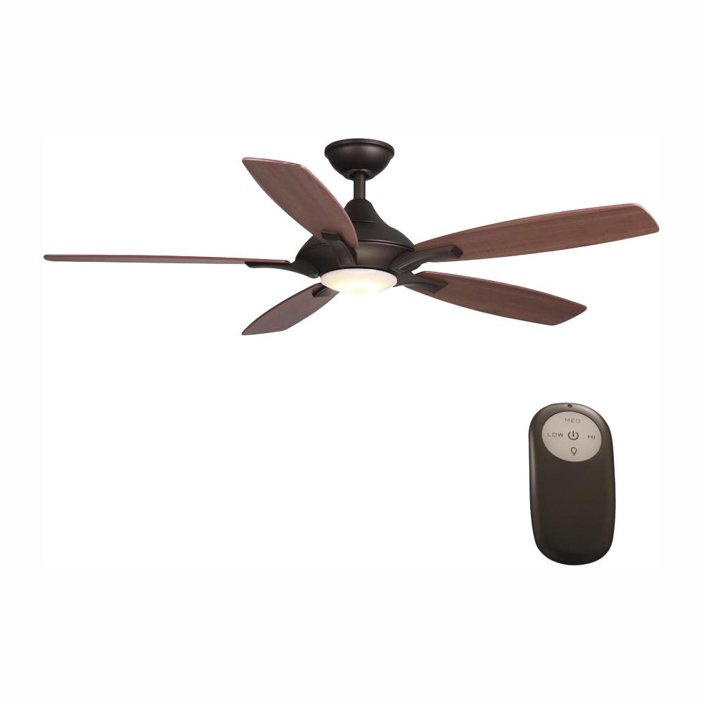 HomeDecoratorsCollection Home Decorators Collection Petersford 52 in. Integrated LED Indoor Oil Rubbed Bronze Ceiling Fan with Light Kit and Remote Control