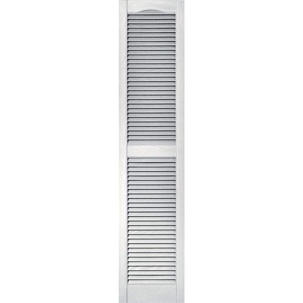 Builders Edge 15 In X 67 In Louvered Vinyl Exterior Shutters Pair In 117 Bright White