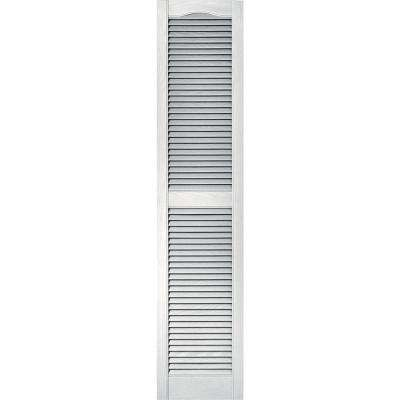 15 in. x 67 in. Louvered Vinyl Exterior Shutters Pair in #117 Bright White