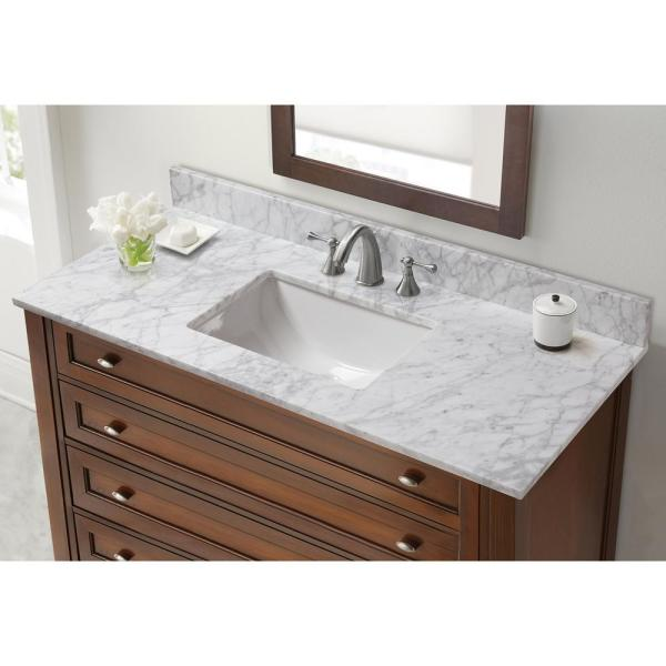 Home Decorators Collection 49 In W Marble Vanity Top In Carrara 28108 The Home Depot