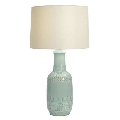 Patterned Ceramic 27.5 in. Green Table Lamp with Linen Shade
