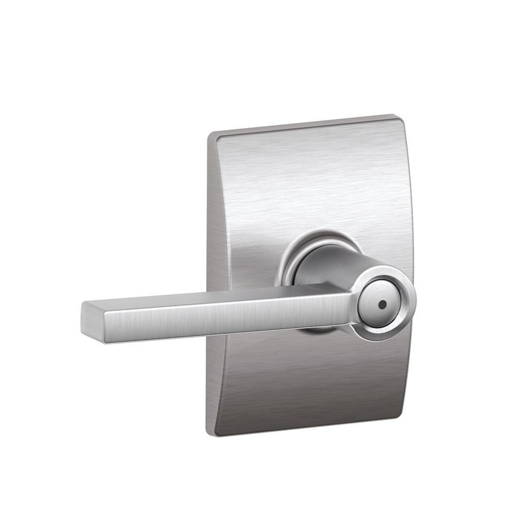 Schlage Laude Satin Chrome Privacy Bed Bath Door Lever With Century Trim