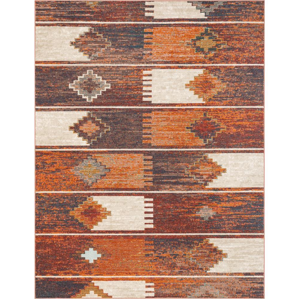Taos Socorro Burnt Orange Scandinavian Tribal Southwestern 5 Ft 3 In X 7 Area Rug