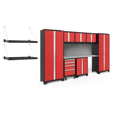 Bold Series 3.0 77.25 in. H x 132 in. W x 24 in. D 24-Gauge Steel Cabinet Set in Red (8-Piece)