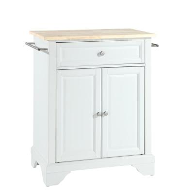 Lafayette White Portable Kitchen Island with Wood Top