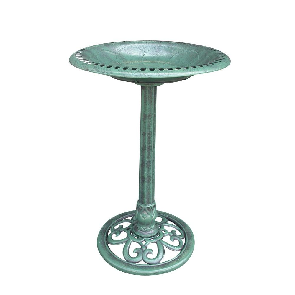 20 in. x 28 in. Green Plastic Birdbath