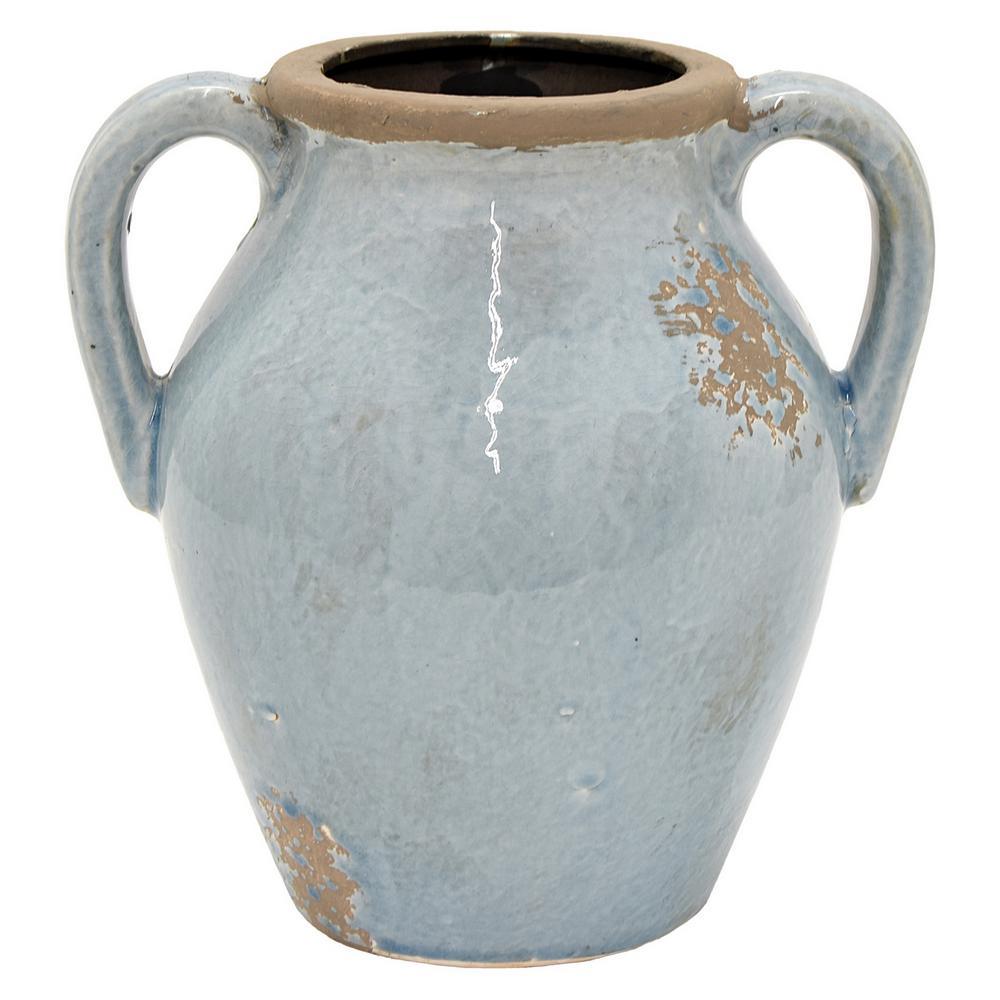 10 in. Blue Ceramic Vase