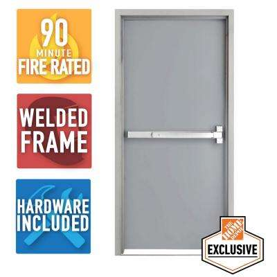 36 in. x 80 in. Fire-Rated Gray Left-Hand Flush Steel Prehung Commercial Door and Frame with Panic Bar and Hardware