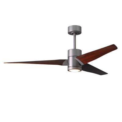 Super Janet 60 in. LED Indoor/Outdoor Damp Brushed Nickel Ceiling Fan with Light with Remote Control, Wall Control