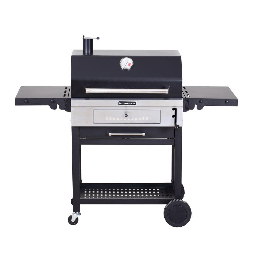 Cart Style Charcoal Grill In Black With Foldable Side Shelves