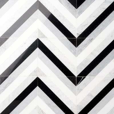 Chelsea Black and White 8 in. x 8 in. Polished Marble Mosaic Tile (0.43 sq. ft./Case)