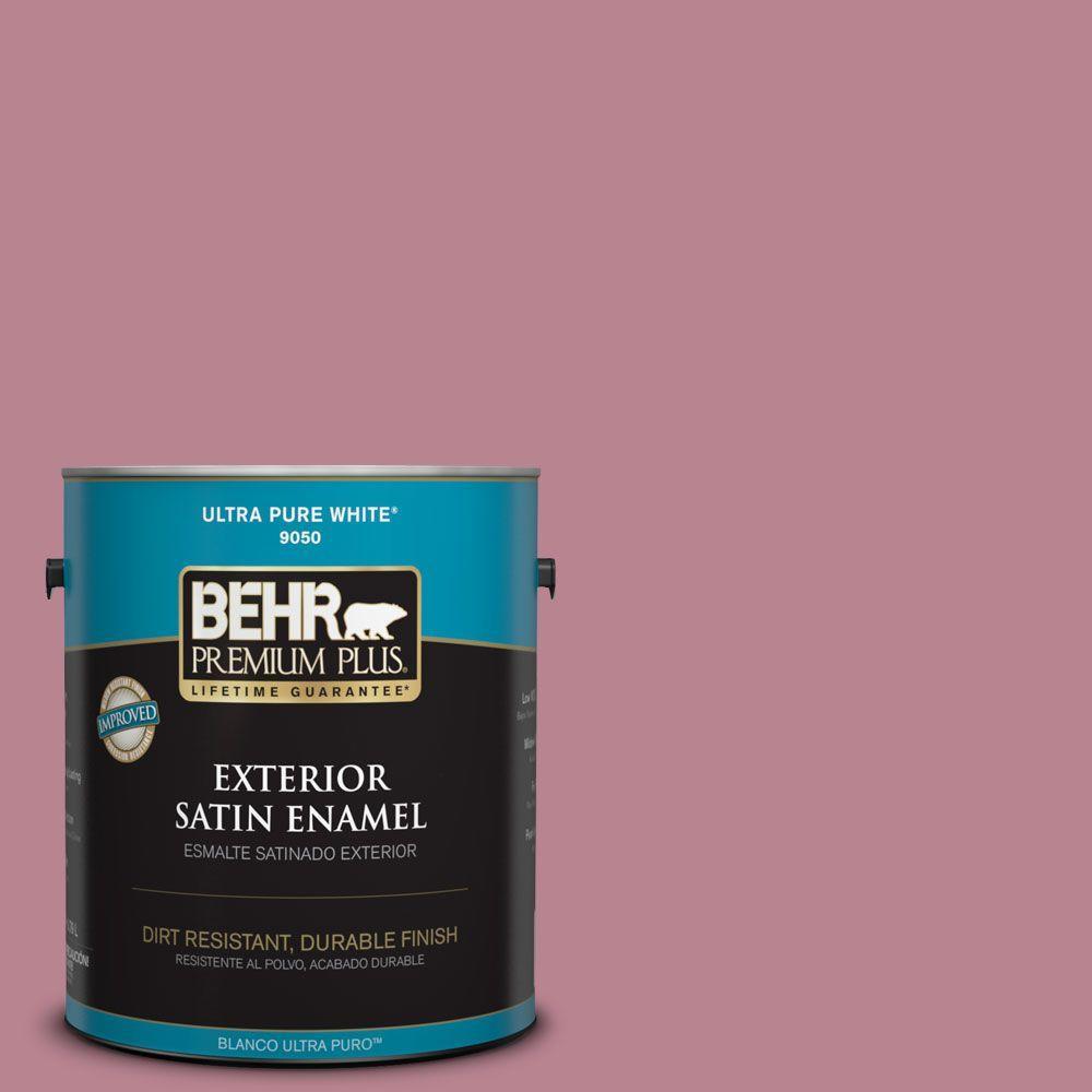 BEHR Premium Plus 1-gal. #BIC-19 Berry Blush Satin Enamel Exterior Paint