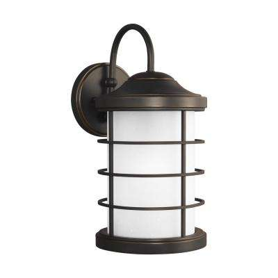 Sauganash 1-Light Medium Antique Bronze Outdoor Wall Mount Lantern with LED Bulb