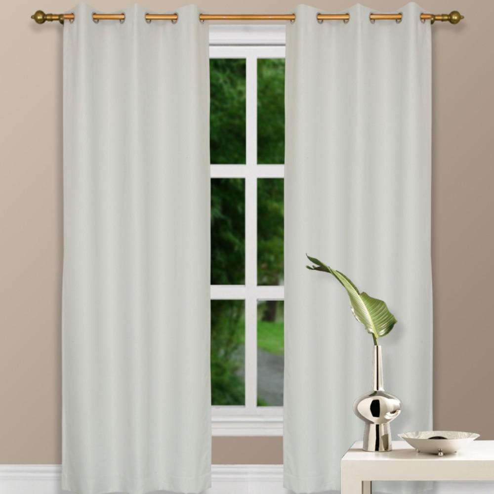 Benzara 1 in. W x 44 in. L x 96 in. H Polyester Fabric Single Panel Thermal Curtain in Ivory