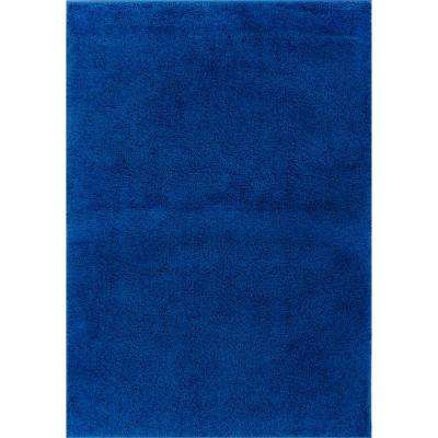 Madison Shag Plain Dark Blue 6 ft. 7 in. x 9 ft. 10 in. Modern Solid Area Rug