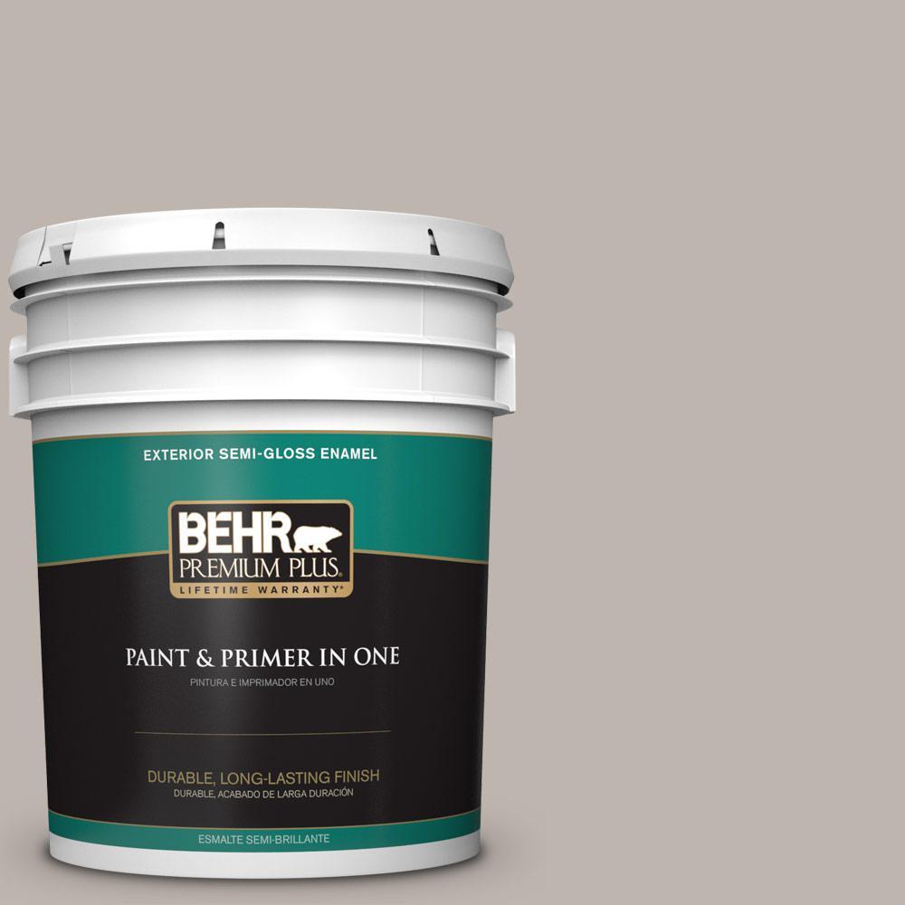 5 gal. #PPU18-12 Graceful Gray Semi-Gloss Enamel Exterior Paint