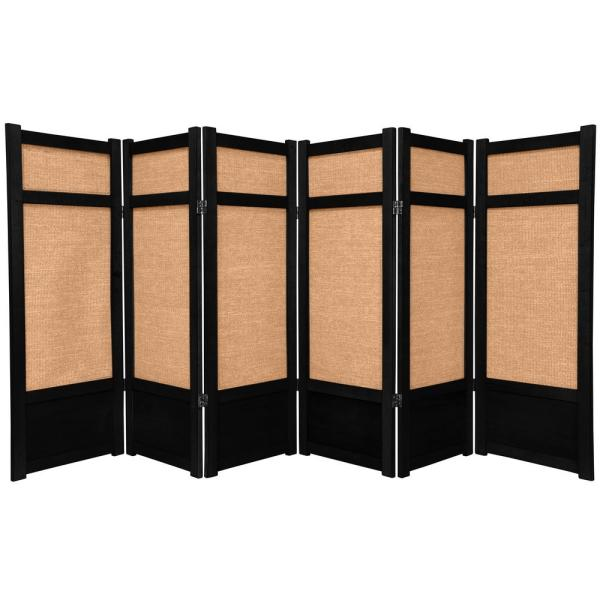 4 ft. Black 6-Panel Room Divider