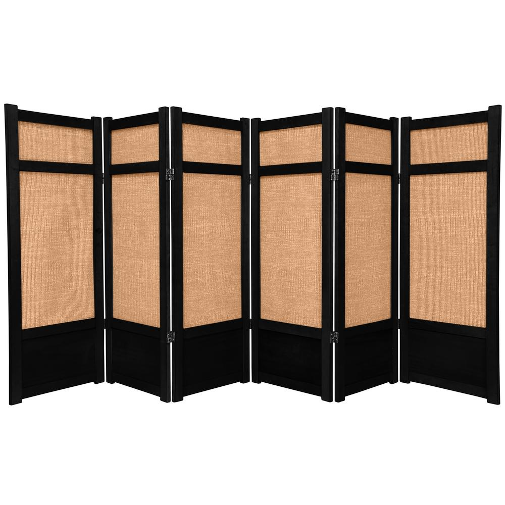 4 ft Black 6 Panel Room Divider CLJUTE BLK 6P The Home Depot