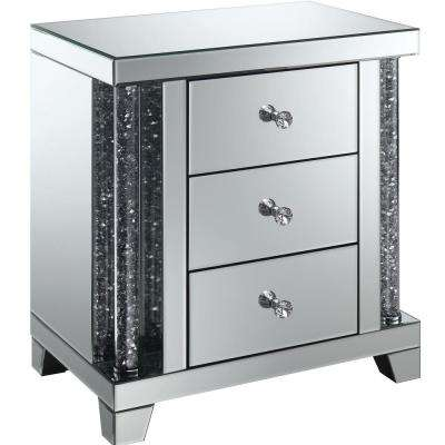 Ellis Silver Crystal Accents 3-Drawer Side Table