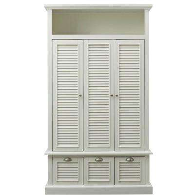 Shutter 42 in. W x 74 in. H x 17 in. D Triple Door Closed Locker Storage in Polar White