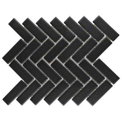 Restore Matte Black Herringbone 9 in. x 12 in. x 6.35 mm Glazed Ceramic Mosaic Tile (0.6 sq. ft./piece)